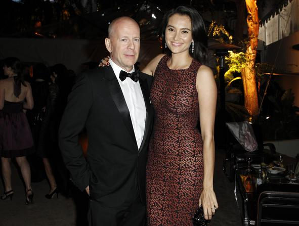 Actor Willis and his wife Heming pose at The Weinstein Company and Relativity Media's after party for the 68th annual Golden Globe Awards in Beverly Hills